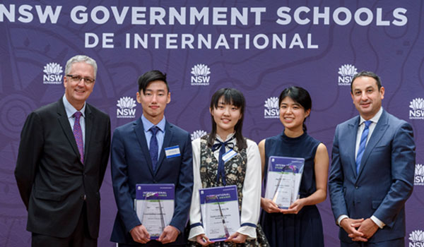 Left to right: Mark Scott, Secretary, Department of Education with Sam Lee, Betty Bi, Mahime Watanabe and Murat Dizdar, Deputy Secretary, School Operations and Performance.