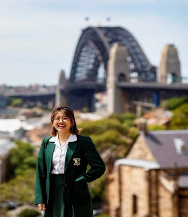 Andrea Ha Beverley Hills Girls High School with the Sydney Harbour Bridge in the background