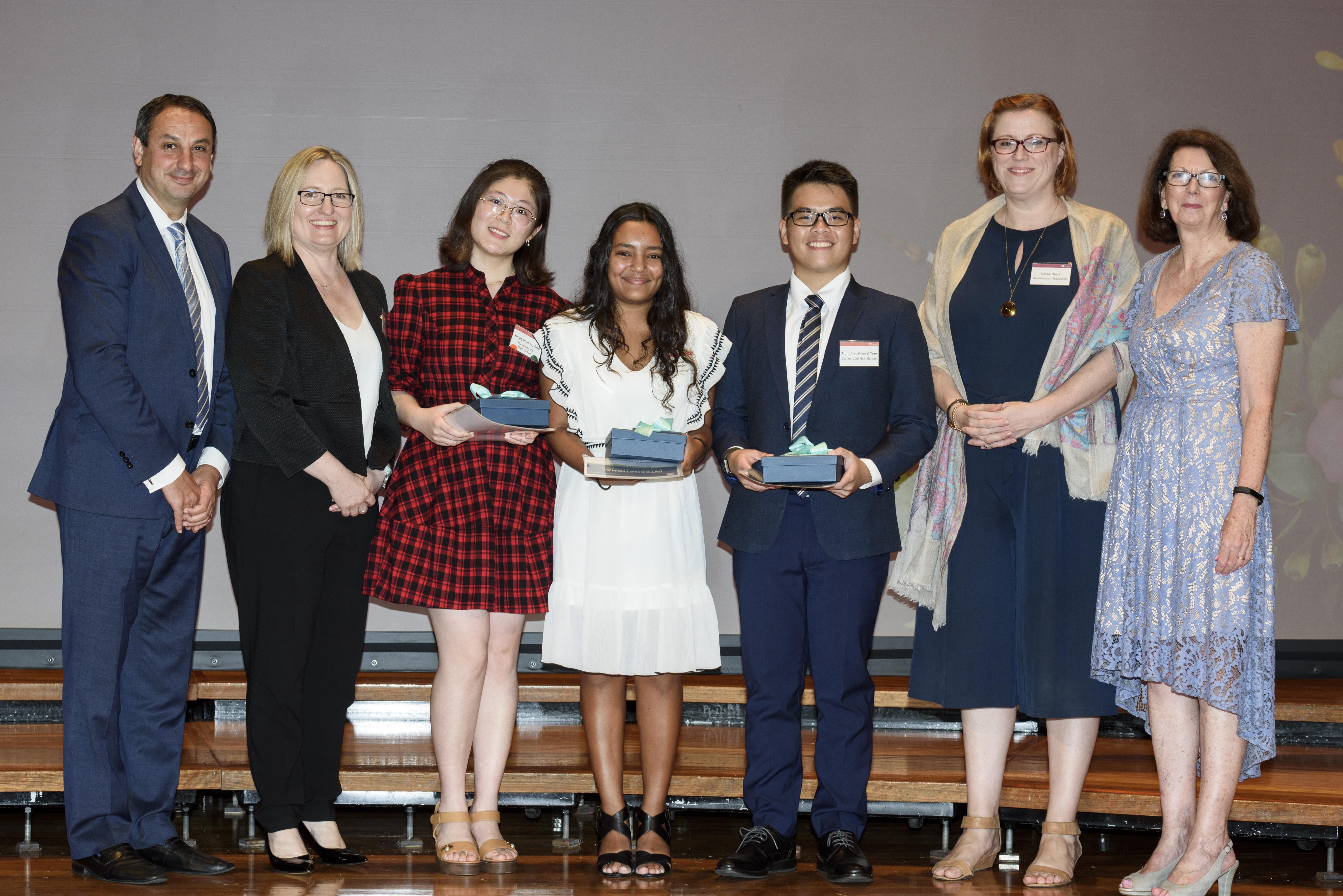 2019 International Student Award winners and officials
